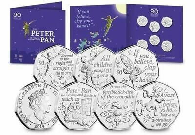 IN HAND The World's First Peter Pan 50p fifty pence 6 coin set - Isle of Man