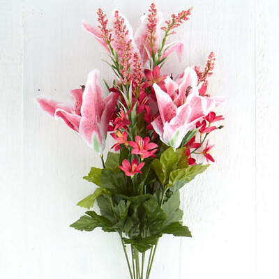 Bright Pink and White Artificial Lily Bush for Arranging, Crafting