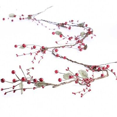 Beautiful Bright Red Assorted Size Holiday Berry Garland with Wrapped Branch