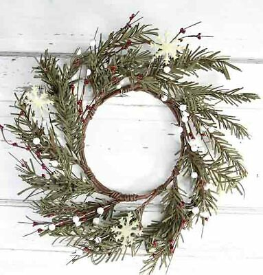 Artificial Soft Pine Winter's Morn Wreath with Snowflake and Berry Accents
