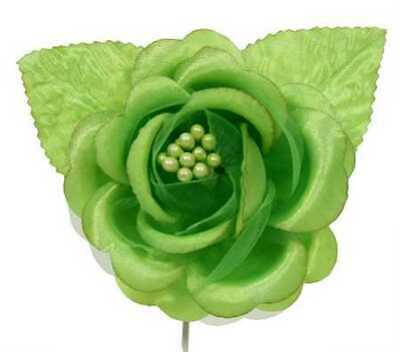 Apple Green Satin Roses with Leaves - Package of 12