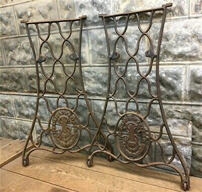 2 Treadle Sewing Machine Cast Iron Base Legs, Ends Industrial Age Table Singer K