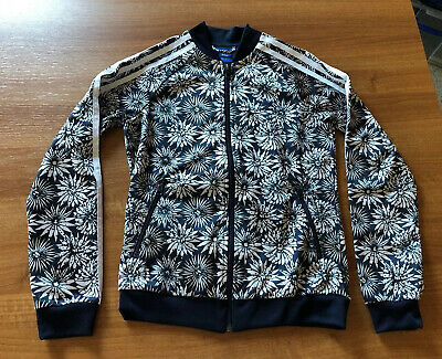 Girls Adidas Originals Black And White Flower Pattern Tracksuit Top Age 11-12