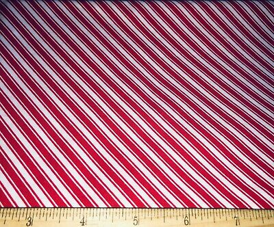 "Red & White Diagonal Candy Cane Stripe Christmas Cotton Fabric 43"" x 33"""