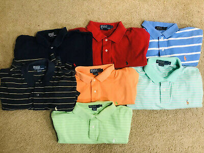 mens ralph lauren polo shirts large lot Cotton Great Value Lot Of 7