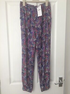 M&S Marks & Spencers Girls Floral Cuffed Trousers Harem Joggers 12 - 13 Years Bn