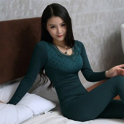Women Winter Sleepwear Set Thermal Underwear Home Indoor Pajamas Sexy Nightwear