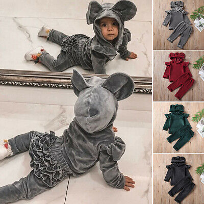 2Pcs Toddler Kids Baby Girl Velvet Hoodie Top + Pants Outfits Clothes Set