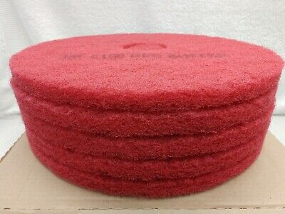 """3M Red Buffer Pad 5100, 17"""", 5/Case, Lot of 1 Commercial Floor Cleaning - NOB"""