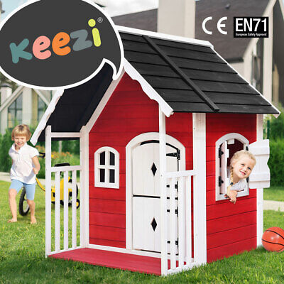 Keezi Kids Wooden Cubby House Outdoor Playhouse Pretend Play Set Childrens Toy