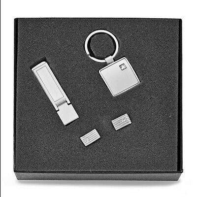 Silver-tone Money Clip, Key Ring, and Cuff Links Set Ideal Gift for Christmas