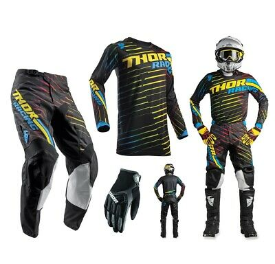 Thor Pulse Rodge Combo multi bunt Crosshose Motocross Shirt MX Handschuhe
