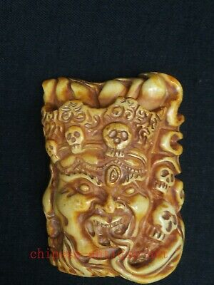 Rare Collection Old China Hand Carving Deer Antler Buddha Statue Pendant Netsuke
