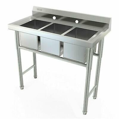 """39"""" Wide 3 Compartment Stainless Steel Commercial Bar Kitchen Sink Large Bowl"""