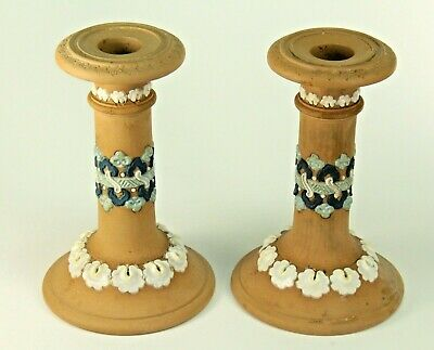~Antique 1891-1912 DOULTON LAMBETH SILICON WARE Pair Candle Holders Candlesticks
