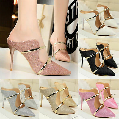 Women Point Toe Sequins Party Shoes Ladies High Heels Metal Ring Stiletto Sandal