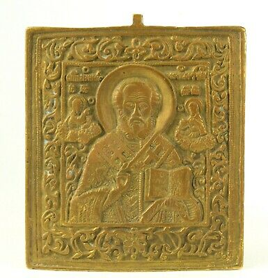 ~ Antique Cast Bronze Russian Orthodox Travel Icon ST.NICHOLAS Myra Wonderworker
