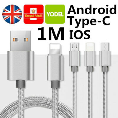 Heavy Duty USB Type C Data Lead Fast Charging Phone Charger Extension Cable 1M