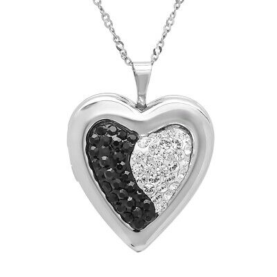 Sterling Silver Black and White Locket Pendant made with Swarovski Crystals