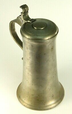 ~Antique 18th C. Pewter Flagon Lidded Tankard Marked Monogrammed