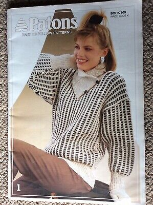 Vintage Patons Knitting Pattern Book 809 Easy to Follow Patterns - Various Yarns