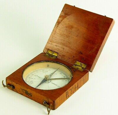 ~ Antique 1800's German Field Compass in Flame Mahogany Wooden Case Military