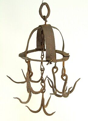 ~Antique 18th c. Wrought Iron Poultry Meat Hanging Hook Game Hunting New England