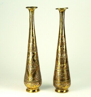 """~Antique 10"""" CAIRO WARE Set of 2 Bud Vases Silver & Copper Inlaid Brass, Islamic"""