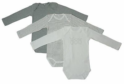 Name It 3er SET BODY Baby Kinder Mädchen Jungen Bodys Einteiler Langarm grey