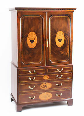 Antique George III Flame Mahogany Satinwood & Marquetry Linen Press 18th C