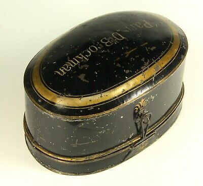 ~ Antique 19th C. LARGE Collar Box French Tole Painted Tin Black & Gold Paris