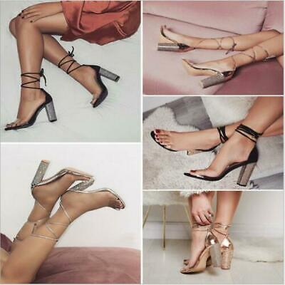 Womens Lace Up Shoes Ladies Bling Block High Heels Open Toe Drill Sandals Sexy