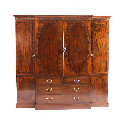 Antique George III Flame Mahogany Breakfront Wardrobe Compactum C1780 18th C