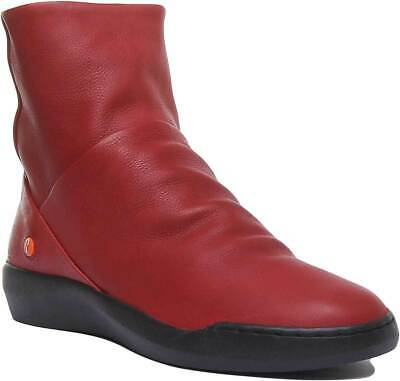 Softinos Womens Side Zip Casual Leather Ankle Boots In Red UK Sizes 3 - 7