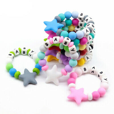 Star Silicone Beads Teether Personalized Name Bracelet Baby Teething Ring Rattle
