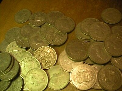 Bulk lot,15 Coins,British Half-crowns mixed dates George 6TH and QE2 FREEPOST UK