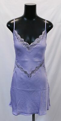 Victoria's Secret Women's Satin Lace Trim Slip Sleep Top TM8 Purple Medium NWT