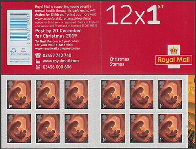 GB 12x1st Class Christmas 2019 Cylinder Stamp Book - Inset Right Bands