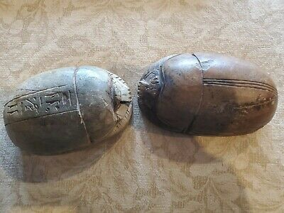 2 ANCIENT EGYPTIAN ANTIQUES Scarab Beetles Egypt Carved Stone