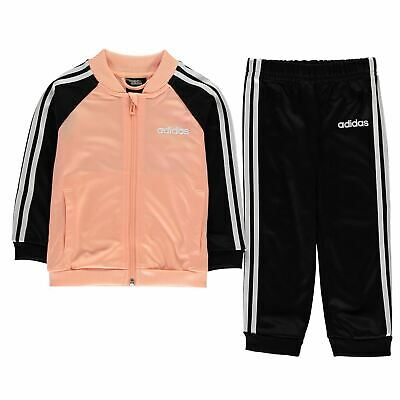 adidas 3 Stripe Polo Tracksuit Baby Girls Poly Full Length Sleeve Zip Zipped