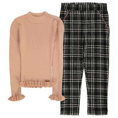 Firetrap 2 Pack Rib Jumper and Jogger Set Infants Girls Clothing Pullover Funnel