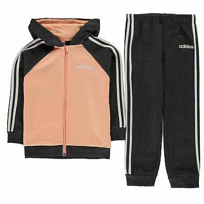 adidas 3 Stripe Tracksuit Infants Girls Fleece Hooded Zip Zipped Warm
