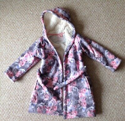 Girl's Marks And Spencer Hooded Dressing Gown - Size 3-4 Years (Mint Condition)