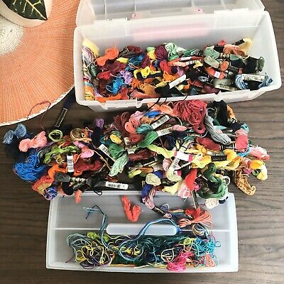 Embroidery Thread Floss LOT, Various Colors And Brands With Case