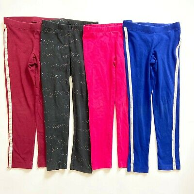 Cat & Jack Lot of 4 Girl sz S 6 / 6x Cozy Leggings Pants Blue Pink Black Purple