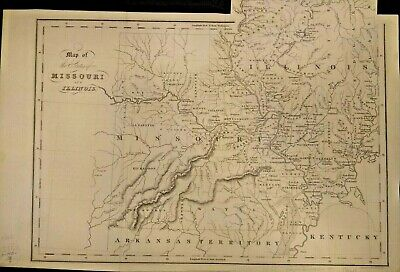 Genuine Antique Map Of The States Of Missouri And Illinois (1831-1832)