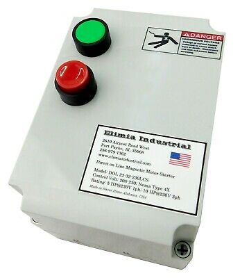 Elimia DOL 9-13-230LCS 3 HP 230V Magnetic Motor Starter Nema Rated 4X UL508A