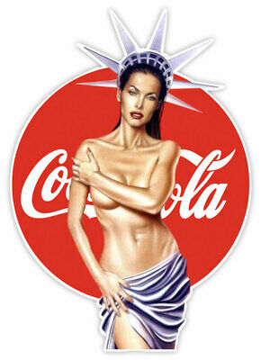 "Pinup pin up pin-up girl liberty coke Coca-Cola sticker decal 4"" x 5"""
