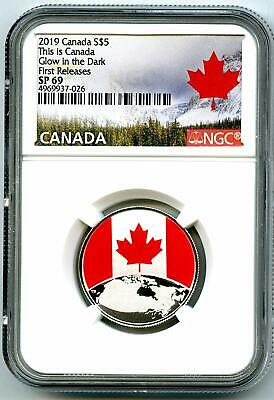 2019 $5 This Is Canada .9999 Silver Ngc Sp69 Glow In The Dark First Releases