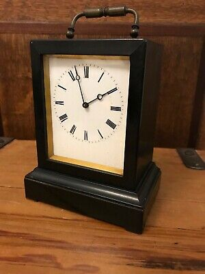 Rare Antique Early Ebonized Wooden Cased Carriage Clock White Enamel Face